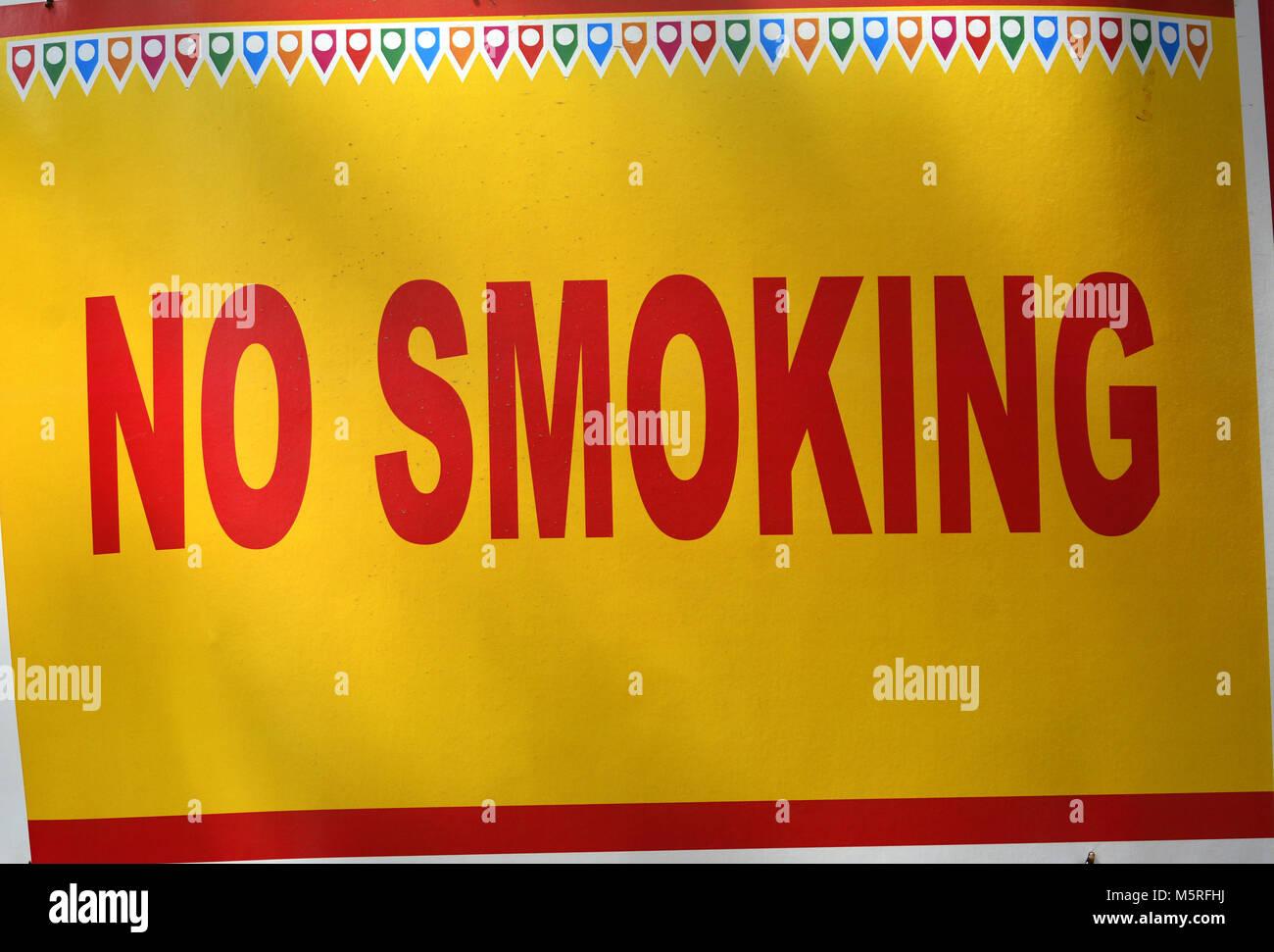 No Smoking Sign Board - Stock Image