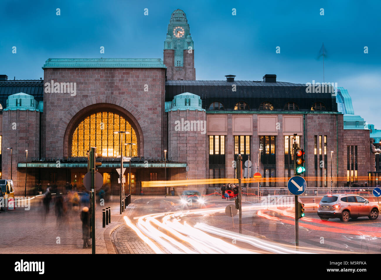 Helsinki, Finland - December 7, 2016: Night Traffic In Postgatan Street Near Helsinki Central Railway Station In - Stock Image