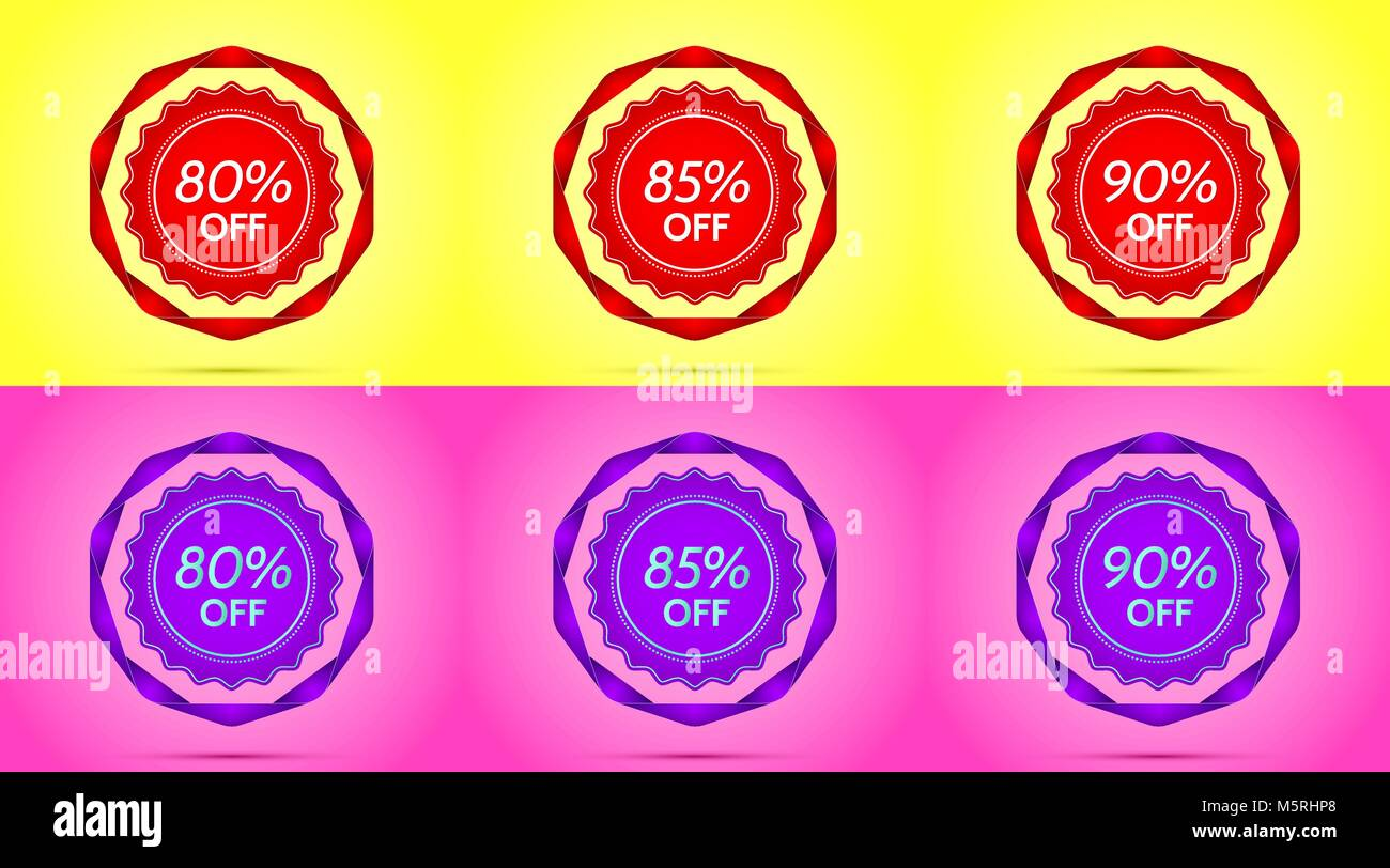 Set of Red and Purple Sale Badges. Vector Badge with Offer of Discount 80 85 90 Percent Off, surrounded by Twisted - Stock Image