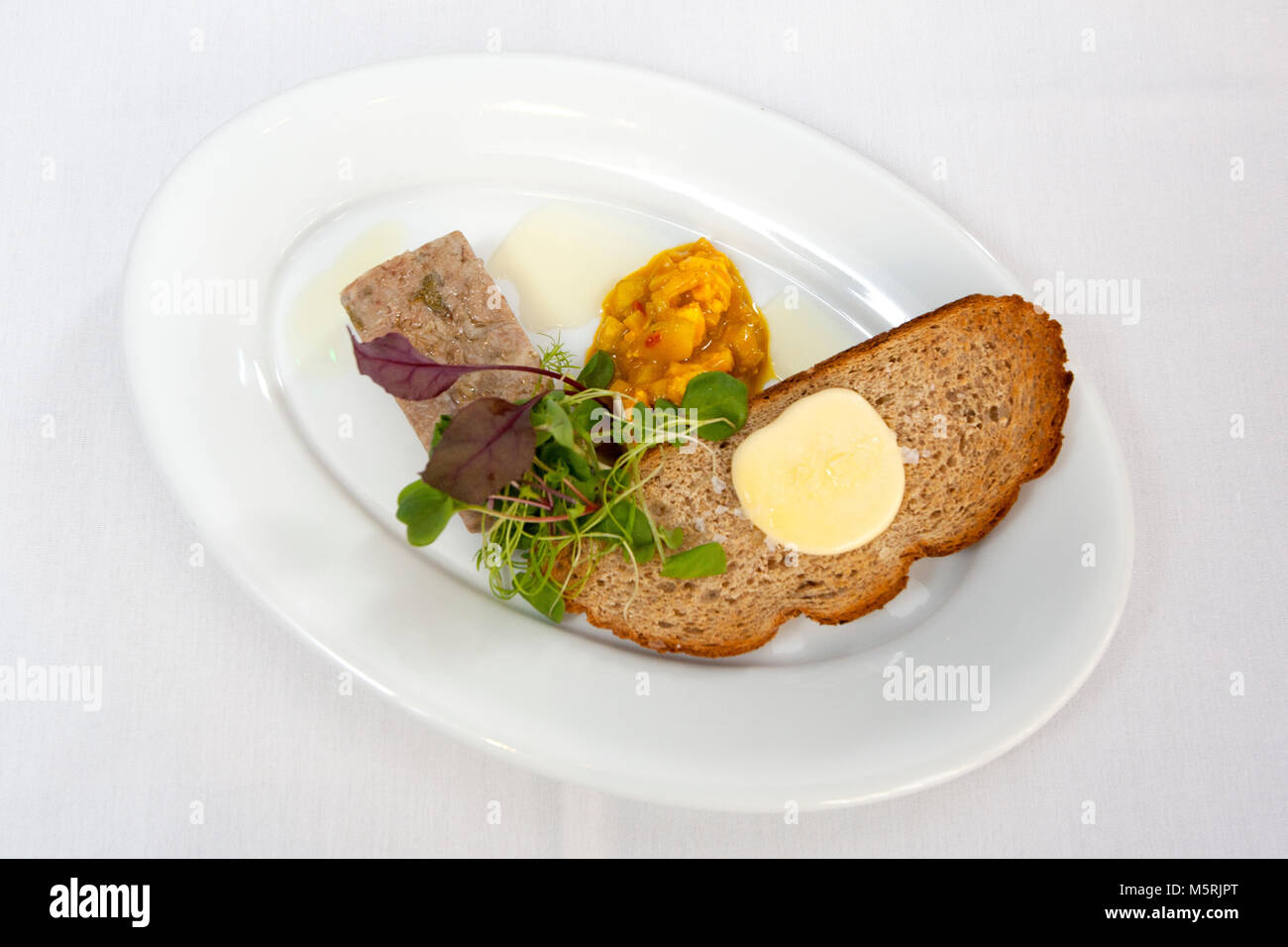 Crab on toast. The Bar and Grill, 21 James Street South, Belfast, BT2 7GA. Photograph/Paul McErlane - Stock Image