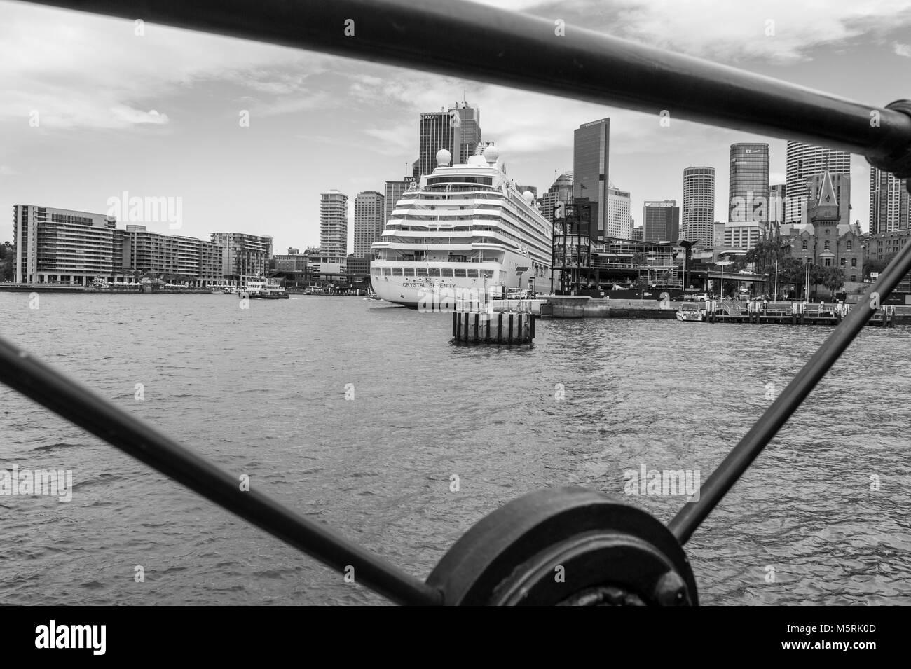 Monochrome view of cruise ship Crystal Serenity, Sydney's Overseas Passenger Terminal, Circular Quay and CBD - Stock Image