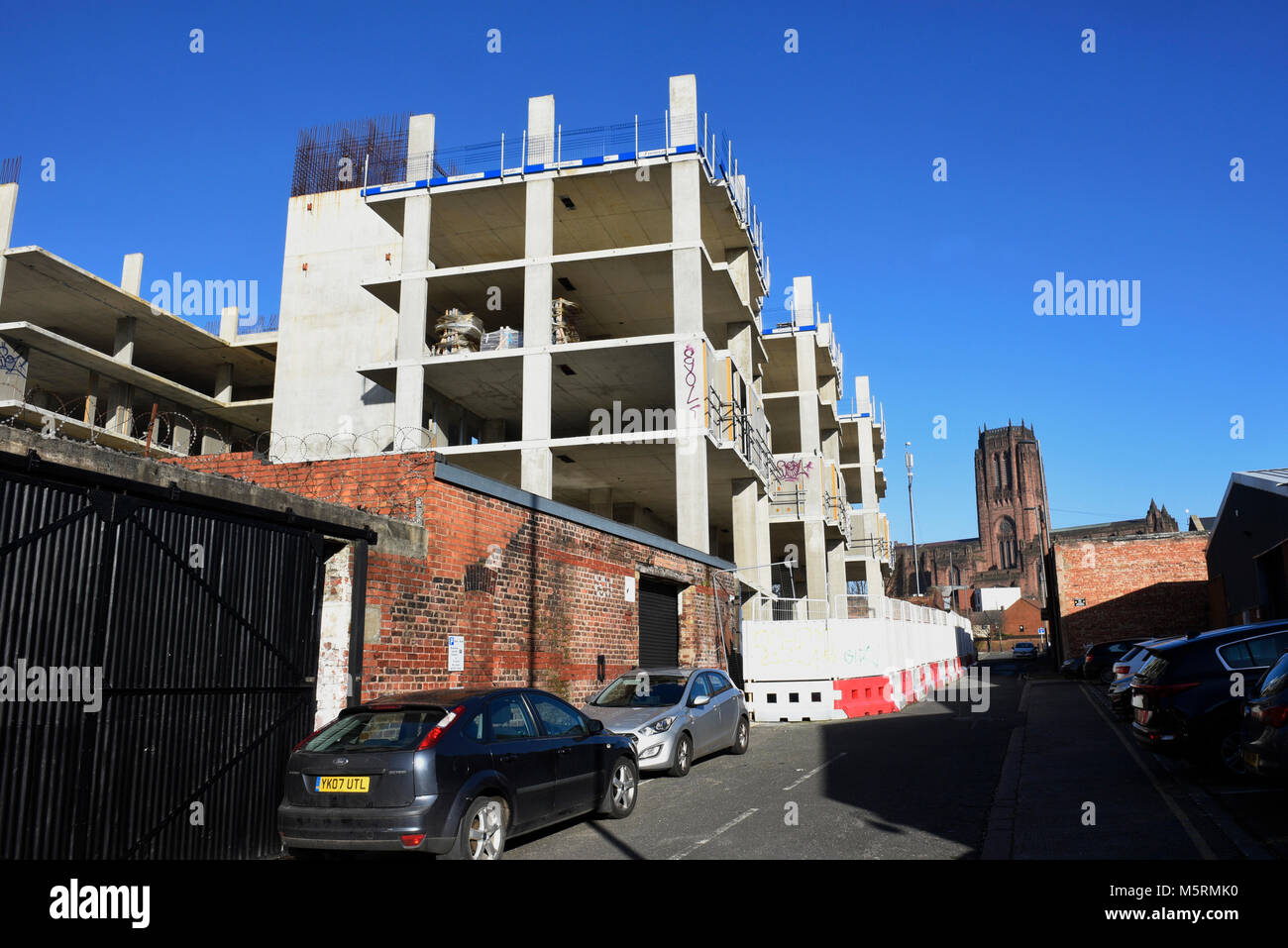 New build construction just off Jamaica Street, Baltic Triangle, Liverpool, UK. The area has seen a massive regeneration - Stock Image