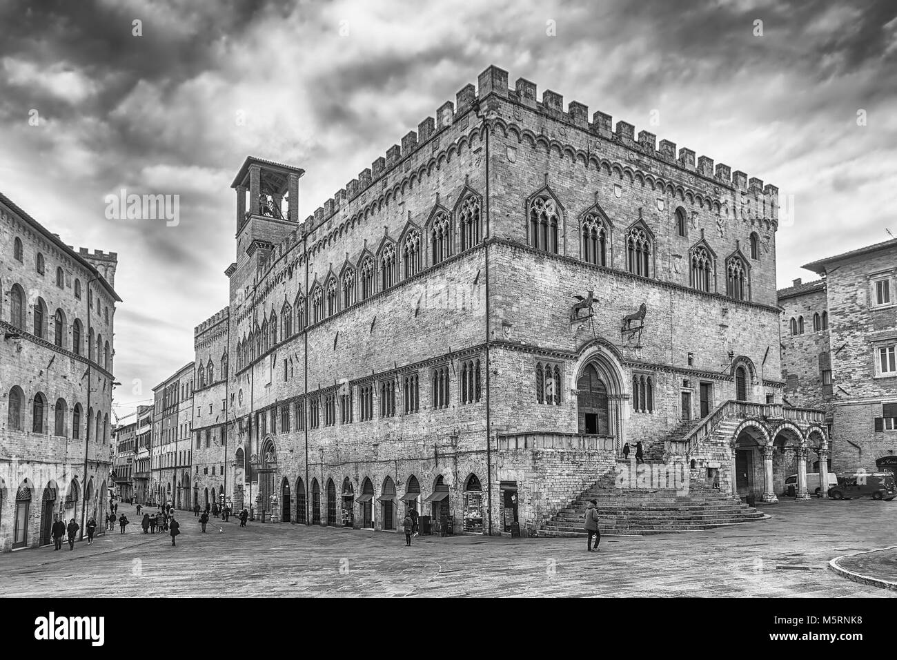 View of Palazzo dei Priori, historical building in the city centre of Perugia, Italy Stock Photo