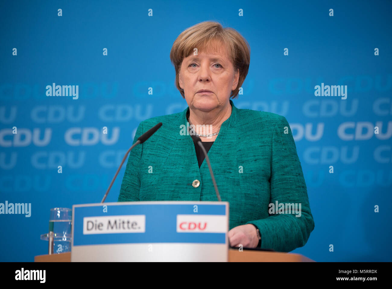 Berlin, Germany. 25th Feb, 2018. Merkel on 25th February, giving a press conference about minister posts before - Stock Image