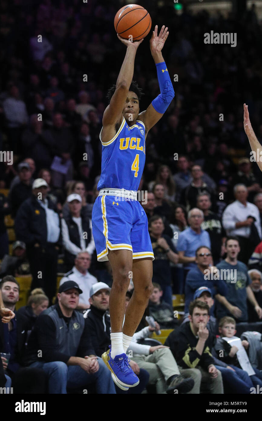 February 25, 2018: UCLA's Jaylen Hands puts up a three against Colorado in the second half in Boulder. Colorado - Stock Image