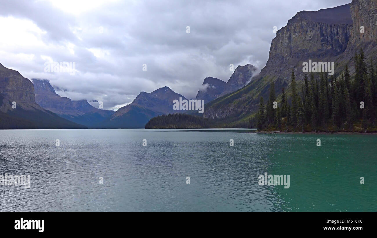 Spirit Island at Maligne Lake, Jasper National Park, Canada Stock Photo