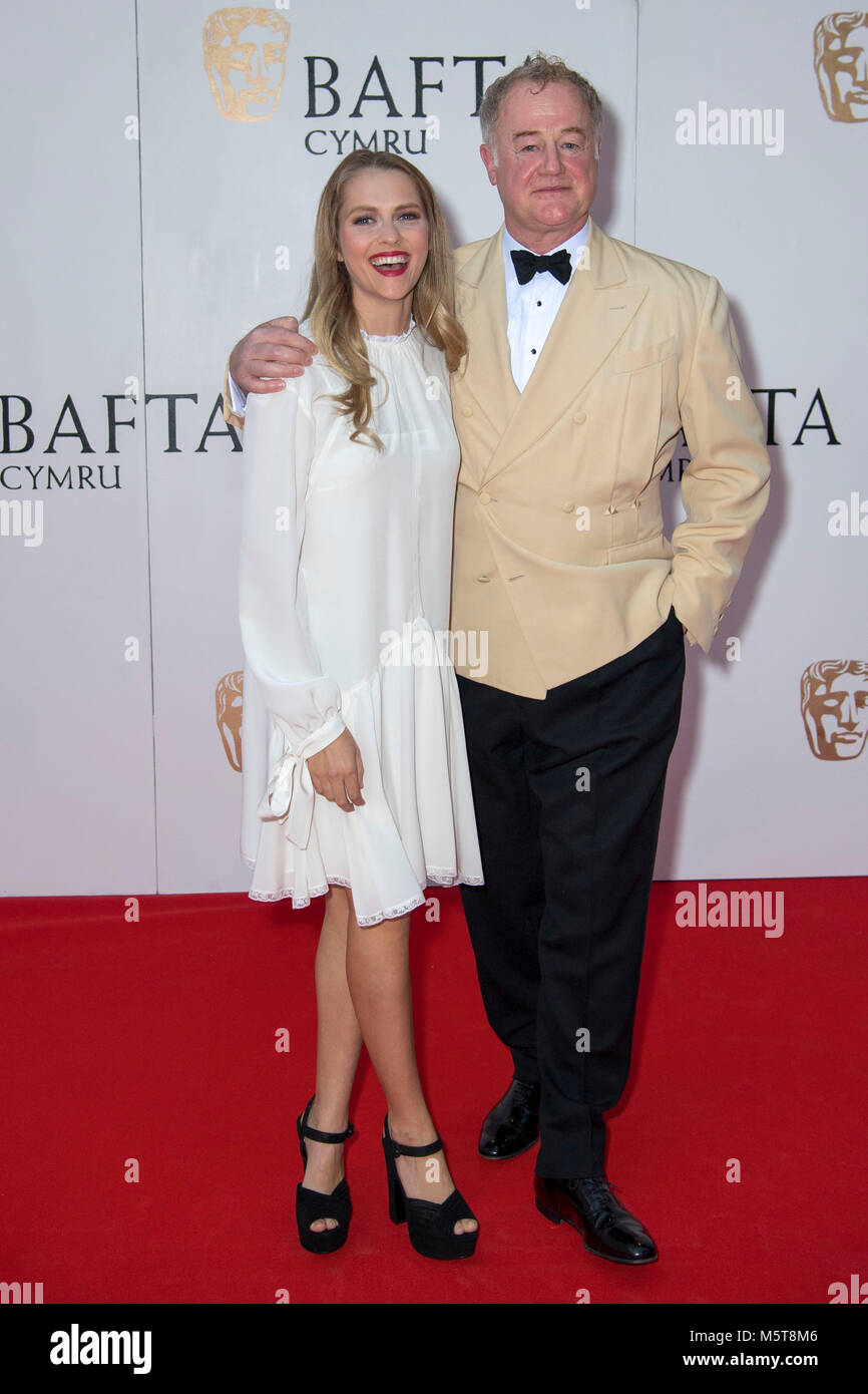 Teresa Palmer and Owen Teale pose for a picture at the 26th British Academy Cymru Awards held at St David's - Stock Image