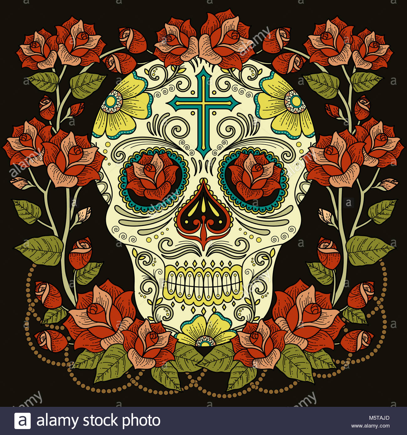 Fantastic adult coloring page, magnificent skull with roses and ...
