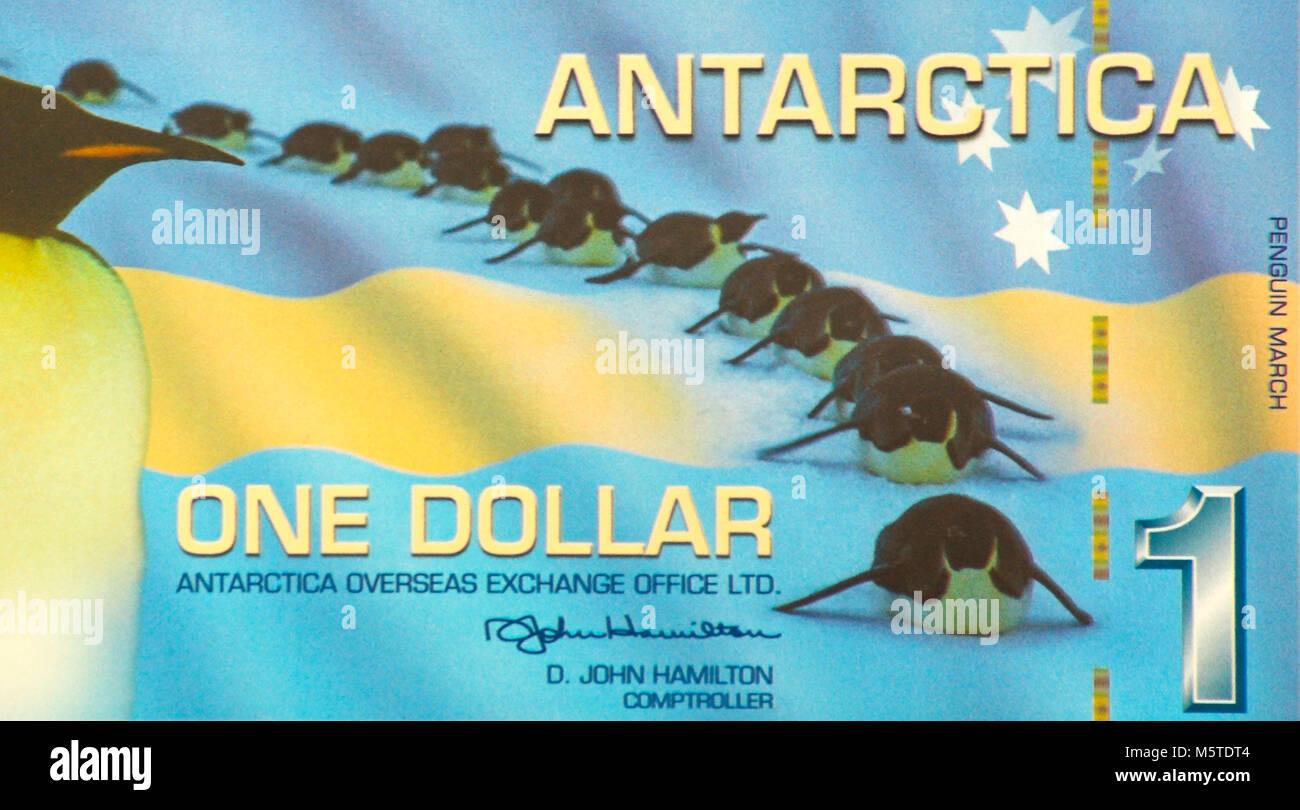 Antarctica One 1 Dollar Bank Note - Stock Image