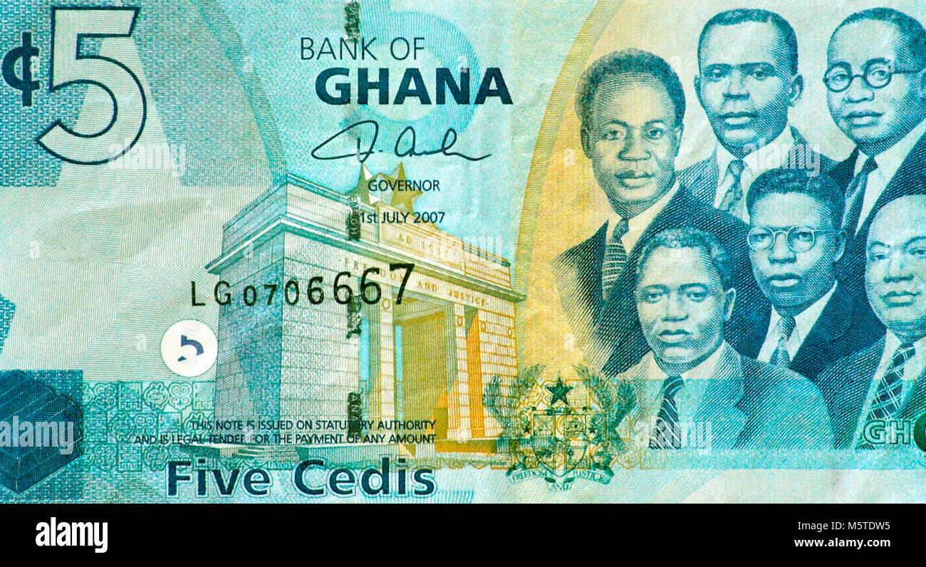 Ghana Five 5 Cedi Bank Note - Stock Image