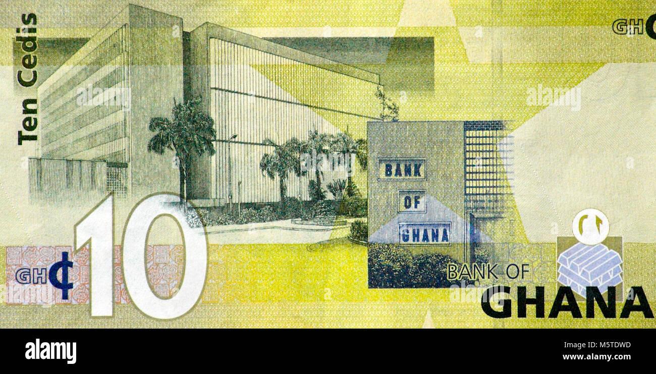 Ghana Ten 10 Cedi Bank Note - Stock Image
