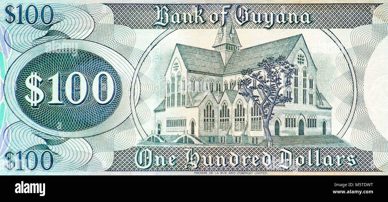 Guyana One Hundred Dollar Bank Note - Stock Image