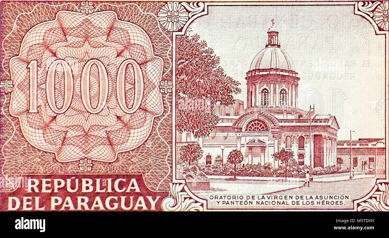 Paraguay One Thousand 1000 Guarani Bank Note - Stock Image