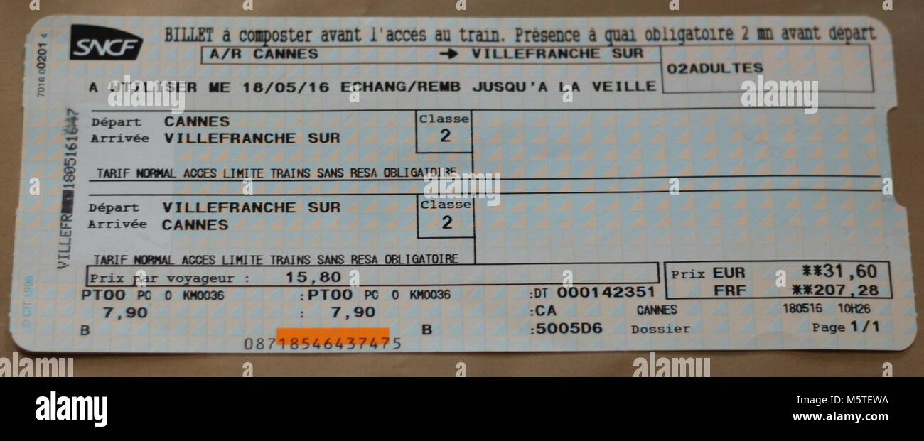 Travel  - French rail ticket to Villefrance sur Mer via Cannes - Stock Image