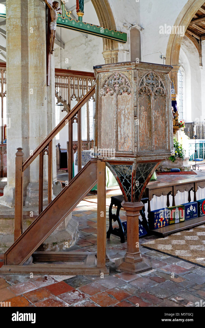 A view of the 15th century wineglass pulpit in the Church of Our Lady St Mary at South Creake, Norfolk, England, - Stock Image