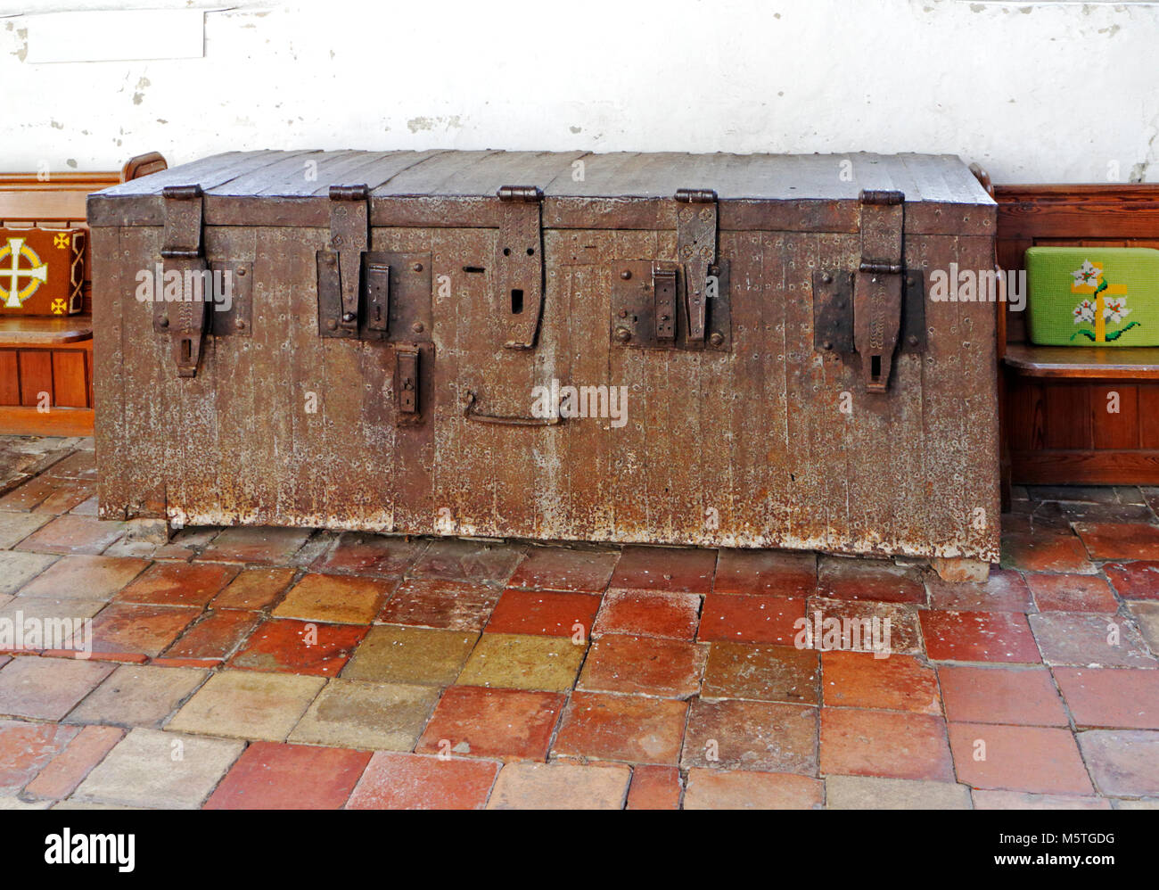 A 13th century chest with five locks in the Church of Our Lady St Mary at South Creake, Norfolk, England, United - Stock Image