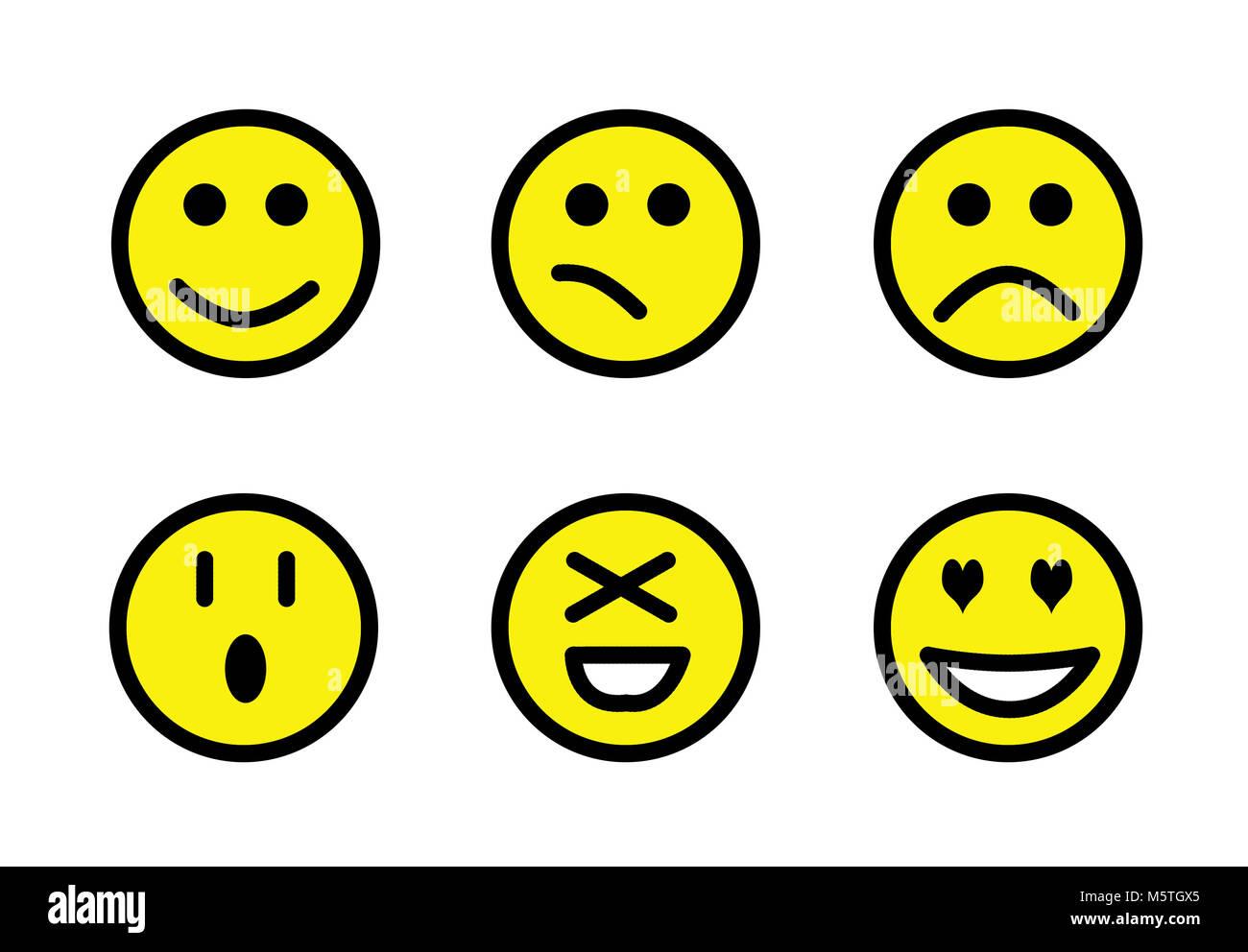 Set of emoji, Smileys set. Isolated faces expression illustration - Stock Image