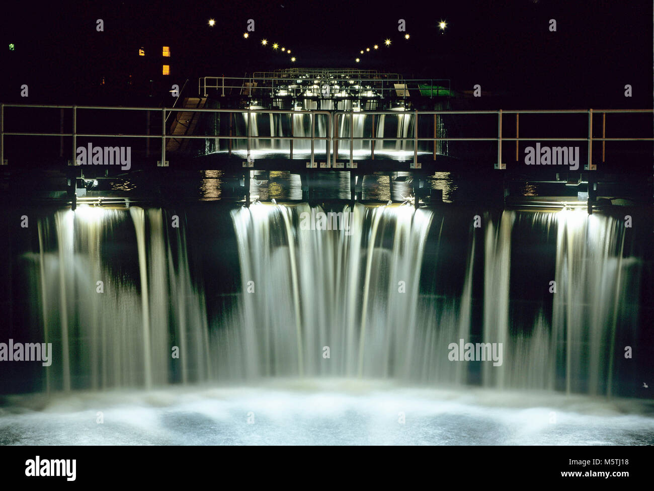 A night view of Neptune's Staircase, a staircase of eight locks which raises the Caledonian Canal 64ft from sea - Stock Image