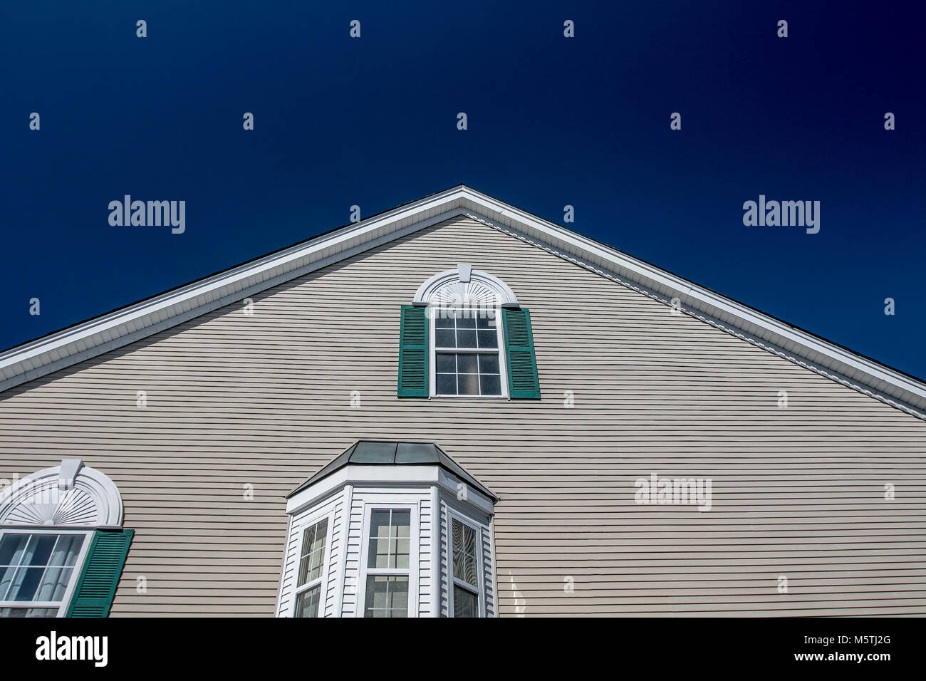 Closeup of a residential dwelling on a sunny day in the USA. Stock Photo