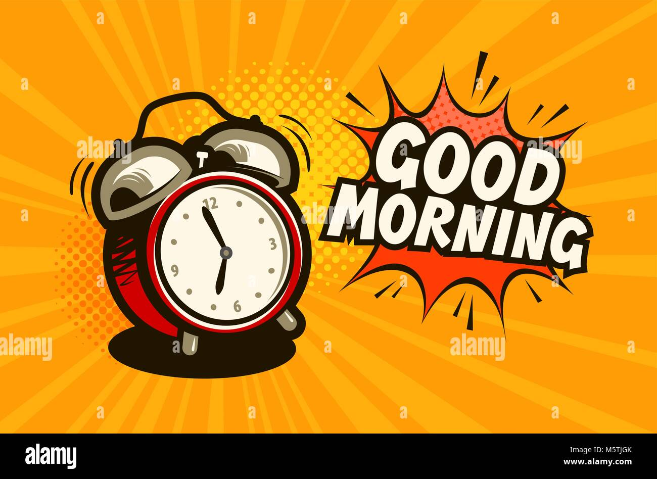 Good Morning Banner Alarm Clock Wake Up Time Concept Cartoon