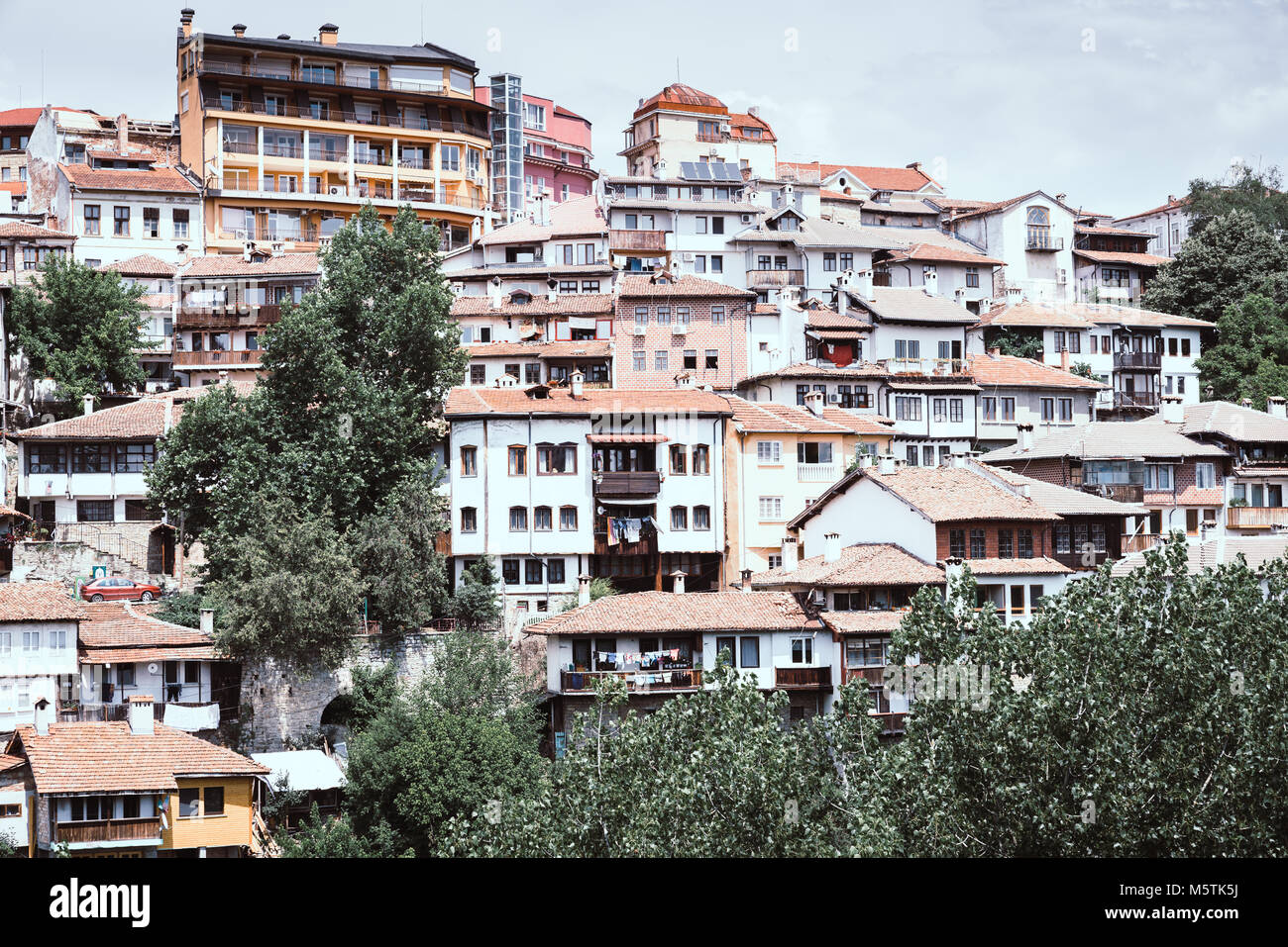 Residential area in the city of Veliko Tarnovo, Bulgaria Stock Photo