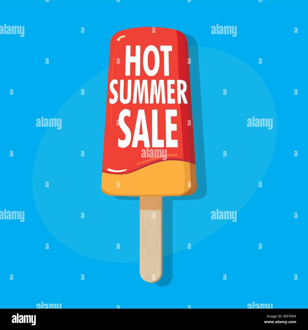 ice on a stick - hot summer sale illustration - Stock Vector