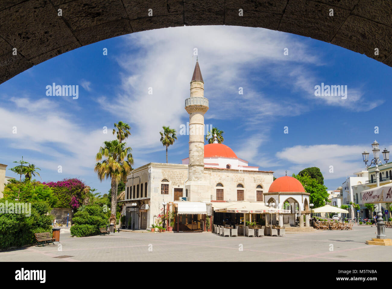 The Defterdar Mosque in Plateia Eleftherias, Kos Town, Dodecanese, Greece - Stock Image
