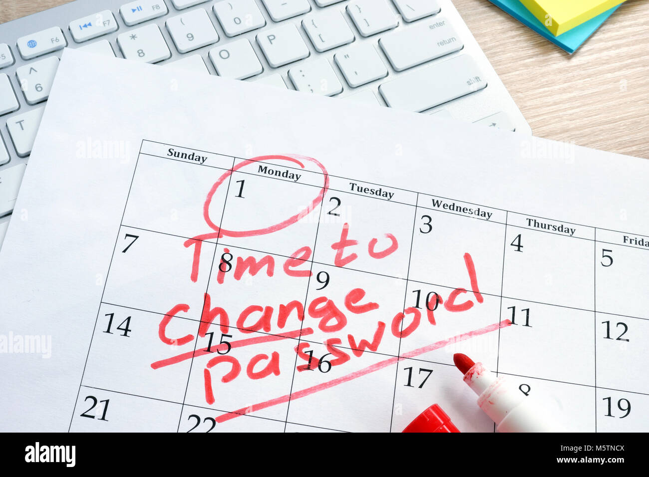 Calendar with words Time to change password. Password management. - Stock Image
