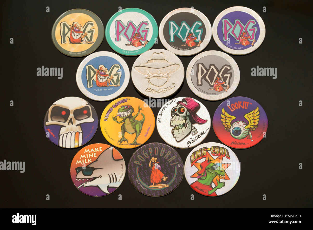 Pogs (Milk cap) collectibles which was a popular children's