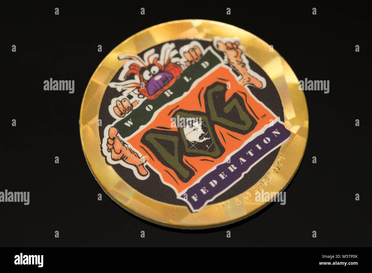 Pogs (Milk cap) collectibles which was a popular children's game in the 1990's - Stock Image