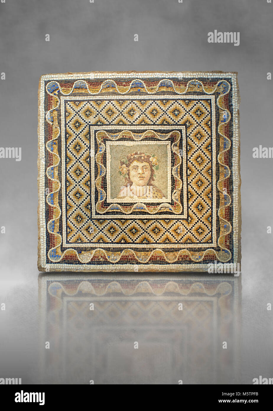 Roman mosaic of a bust of Dionysus from the Via Flaminia, Rome. 3rd century AD. National Roman Museum, Rome, Italy - Stock Image