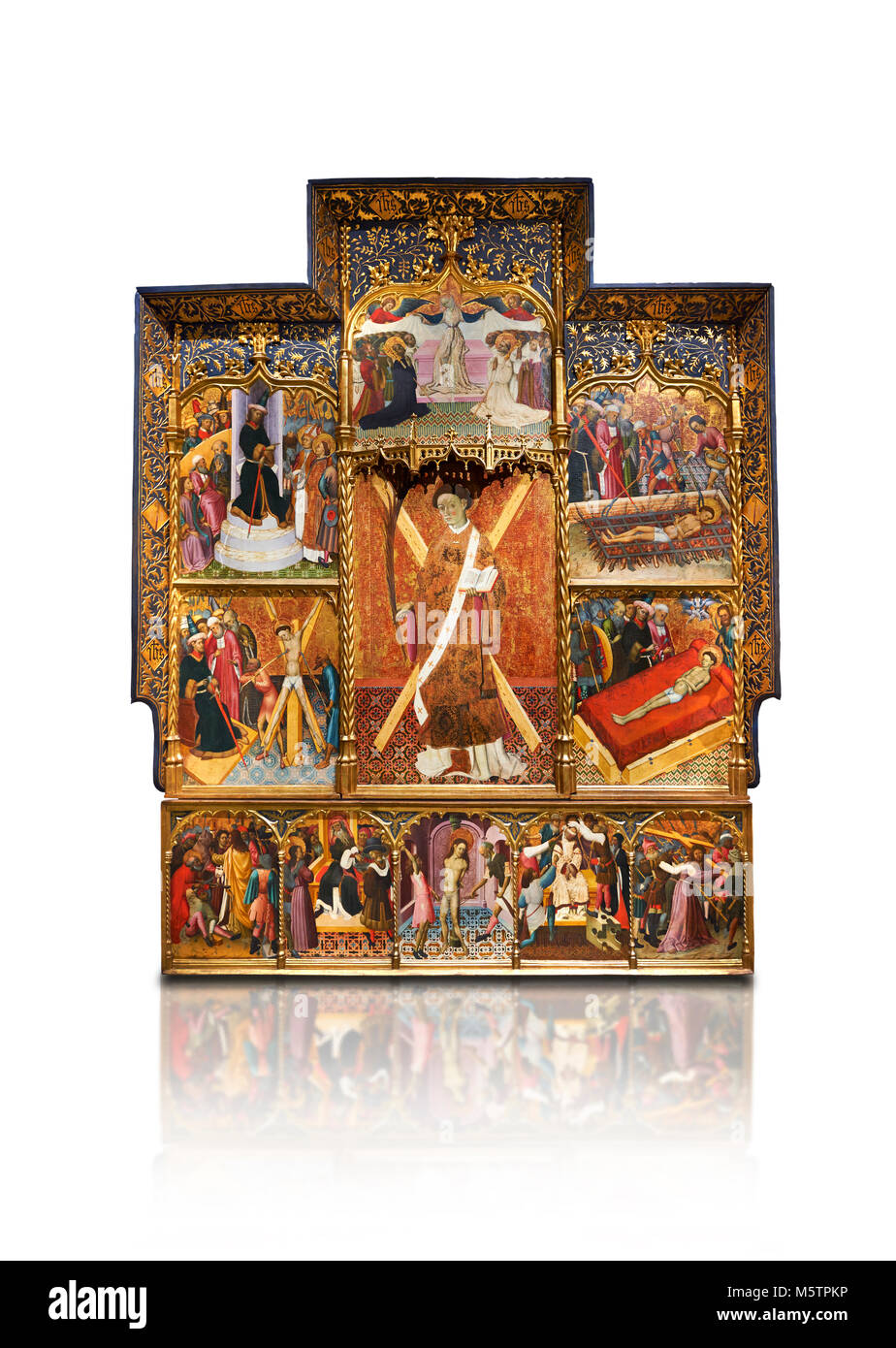 Gothic altarpiece dedicated to St Vincent by Bernat Martorell circa 1483-1440 in Barcelona, tempera and gold lef - Stock Image