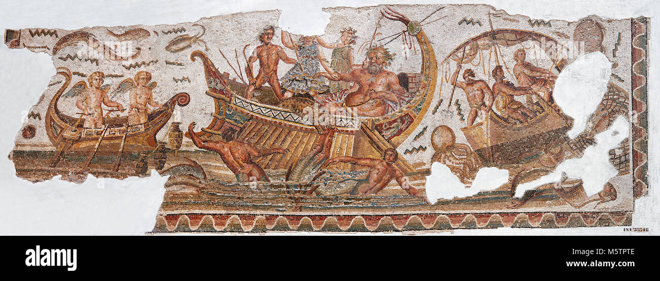 Roman mosaic depicting Dionysus repelling pirates from his ship.  He is accompanied by Acoetes, the helmsman and - Stock Image