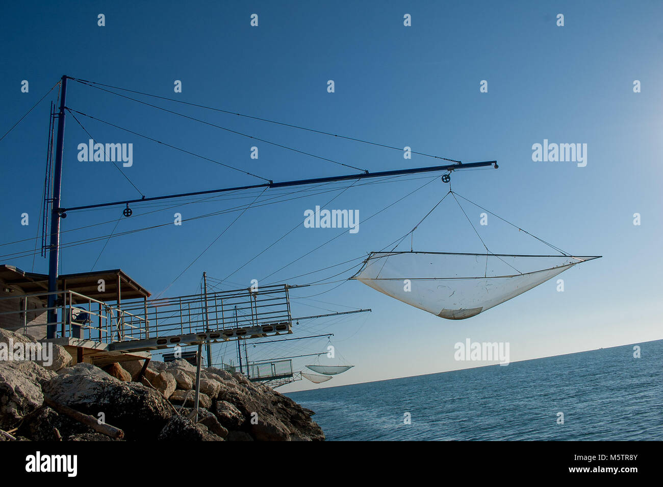 fishing nets suspended - Stock Image