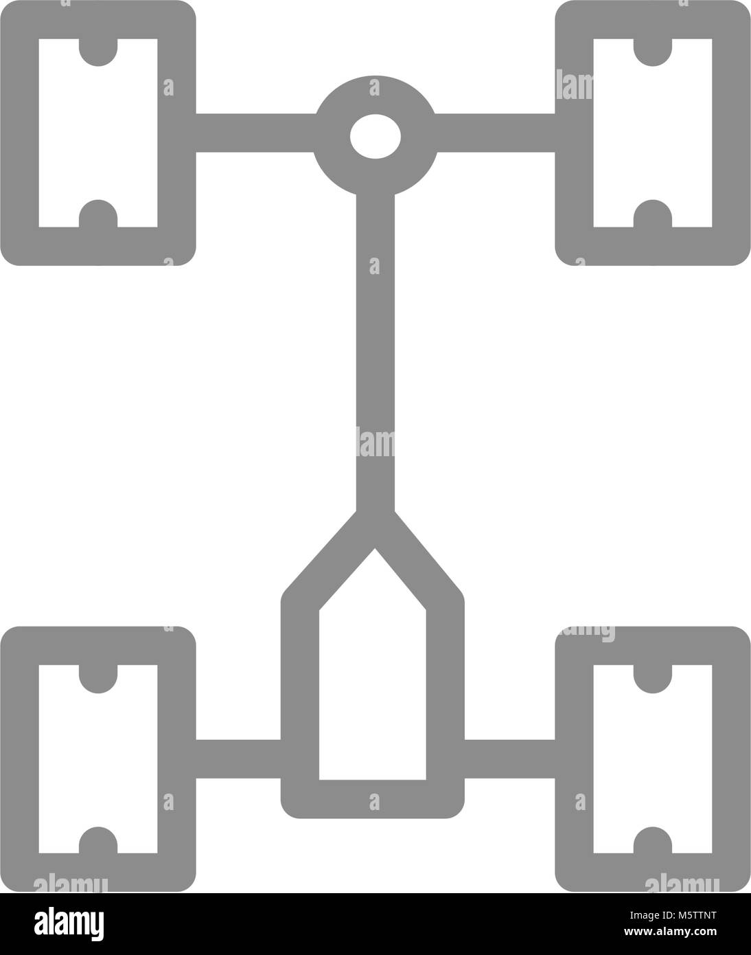Simple car chassis, undercarriage line icon. Symbol and sign vector illustration design. Isolated on white background - Stock Image