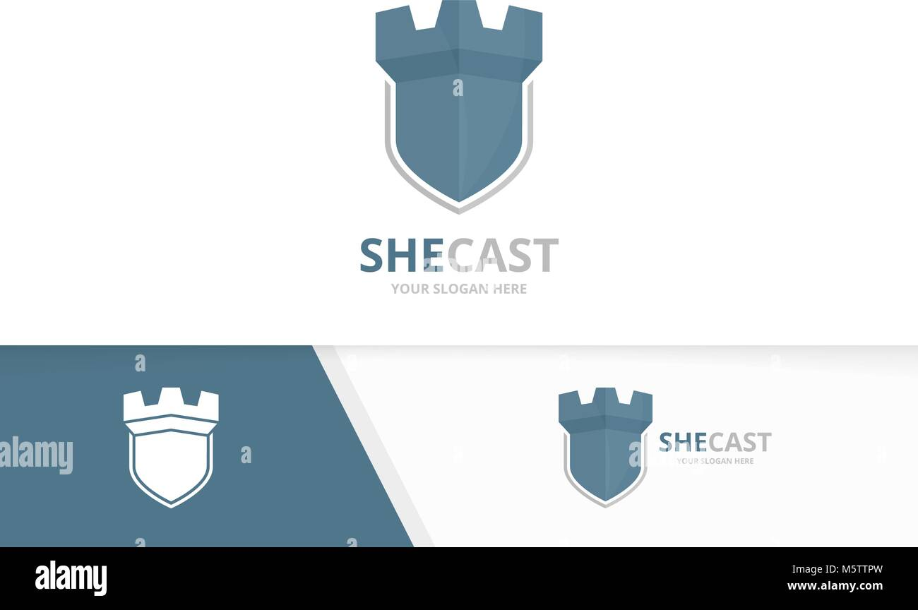 Vector castle and shield logo combination. Tower and security symbol ...
