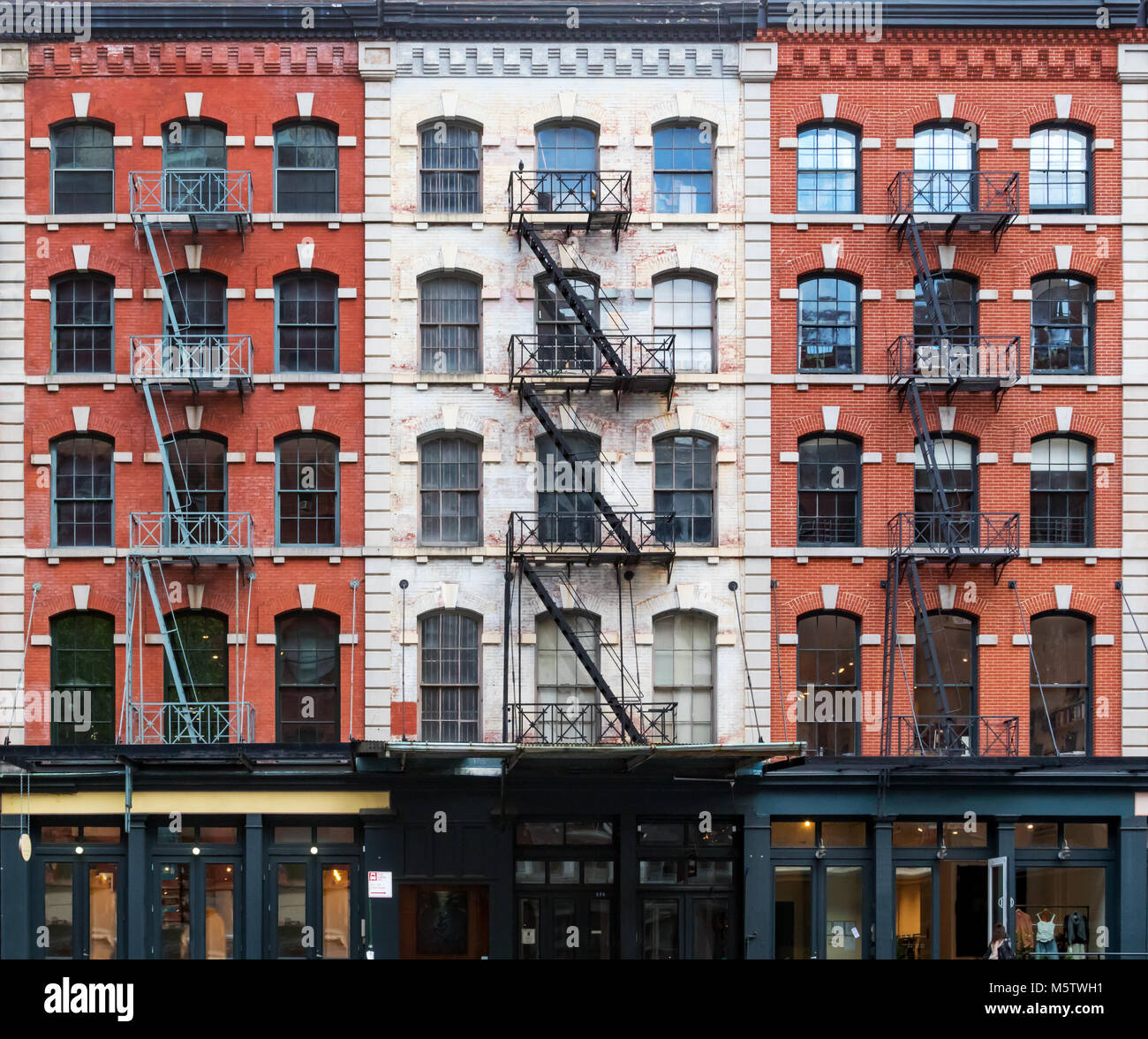 Wall Of Windows On Buildings In Tribeca New York City Stock Photo
