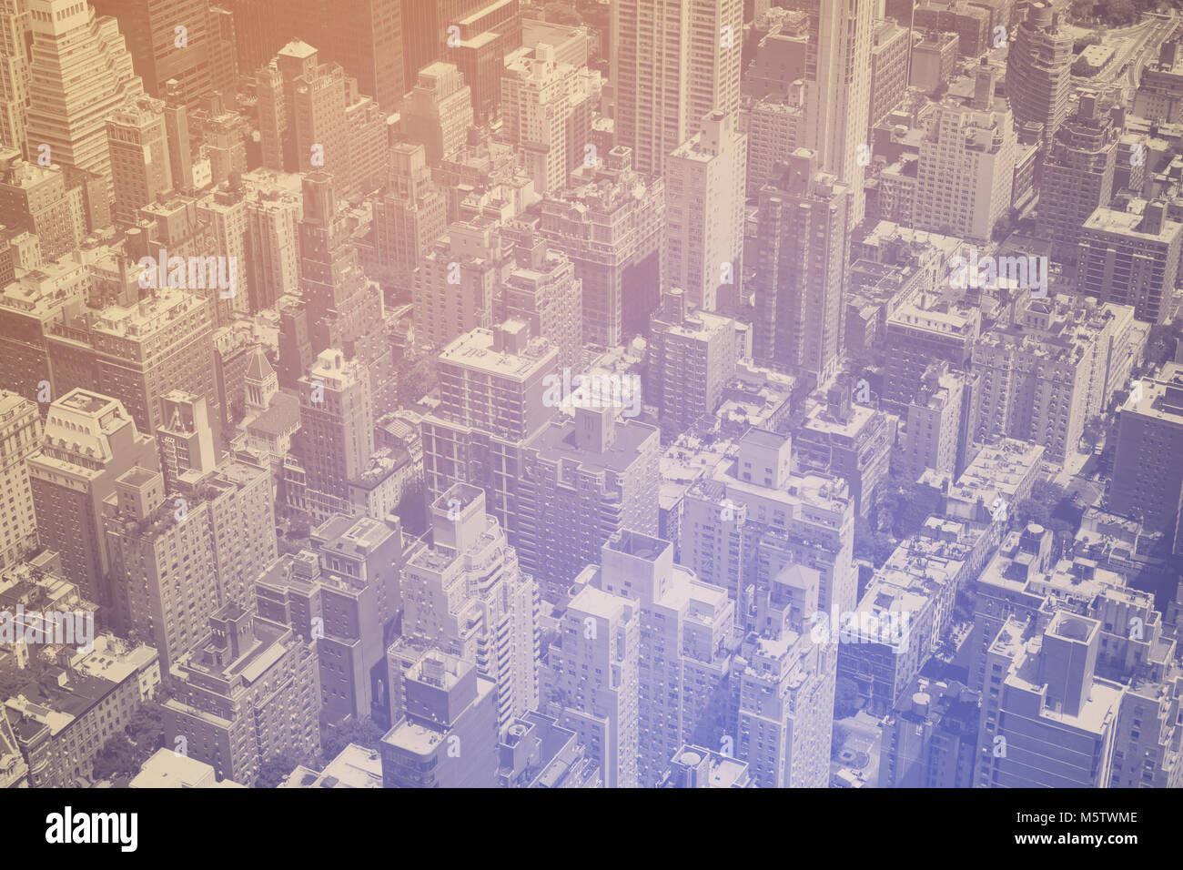 Overhead view of crowded buildings in Manhattan New York City - Stock Image