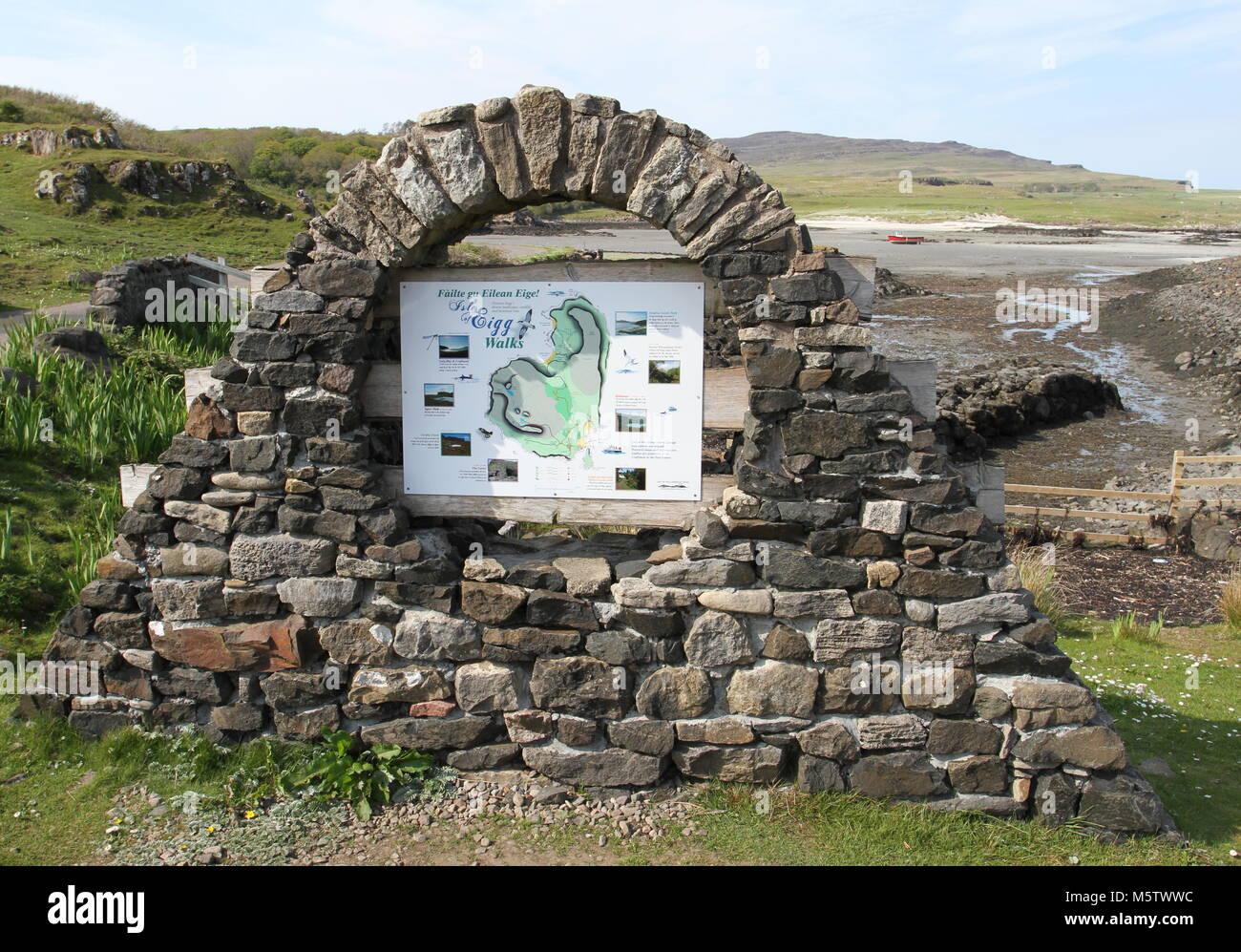Map Of Walking Paths On Isle Of Eigg Scotland May 2012 Stock Photo