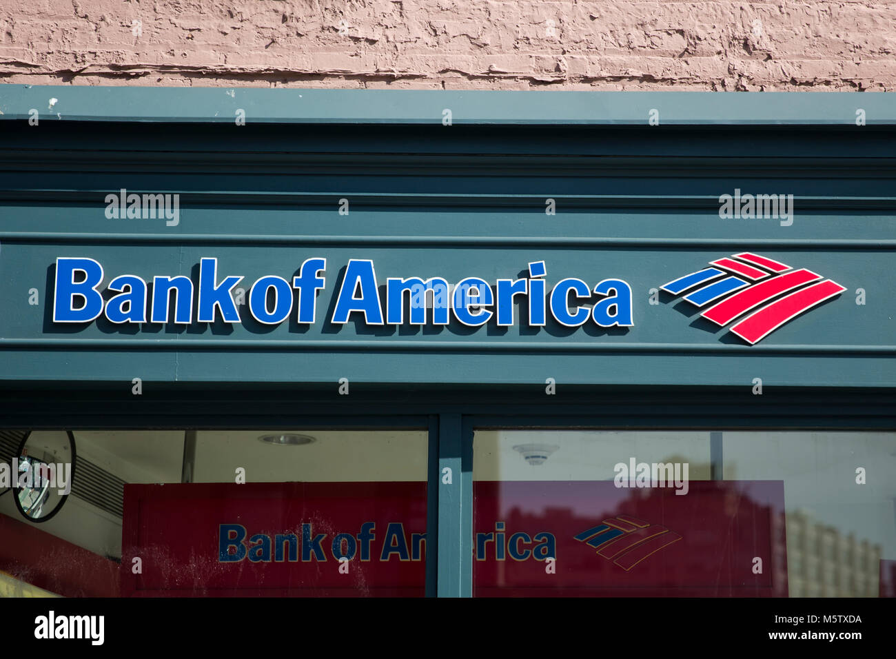 NEW YORK, USA - AUGUST 30, 2017: Detail of Bank of America office in