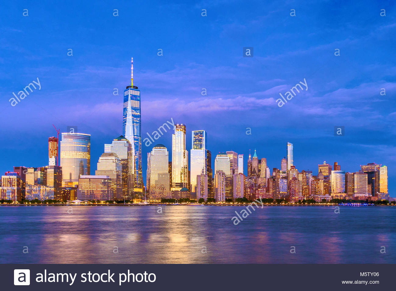 New York Skyline One World Trade Center WTC Freedom Tower Stock Photo
