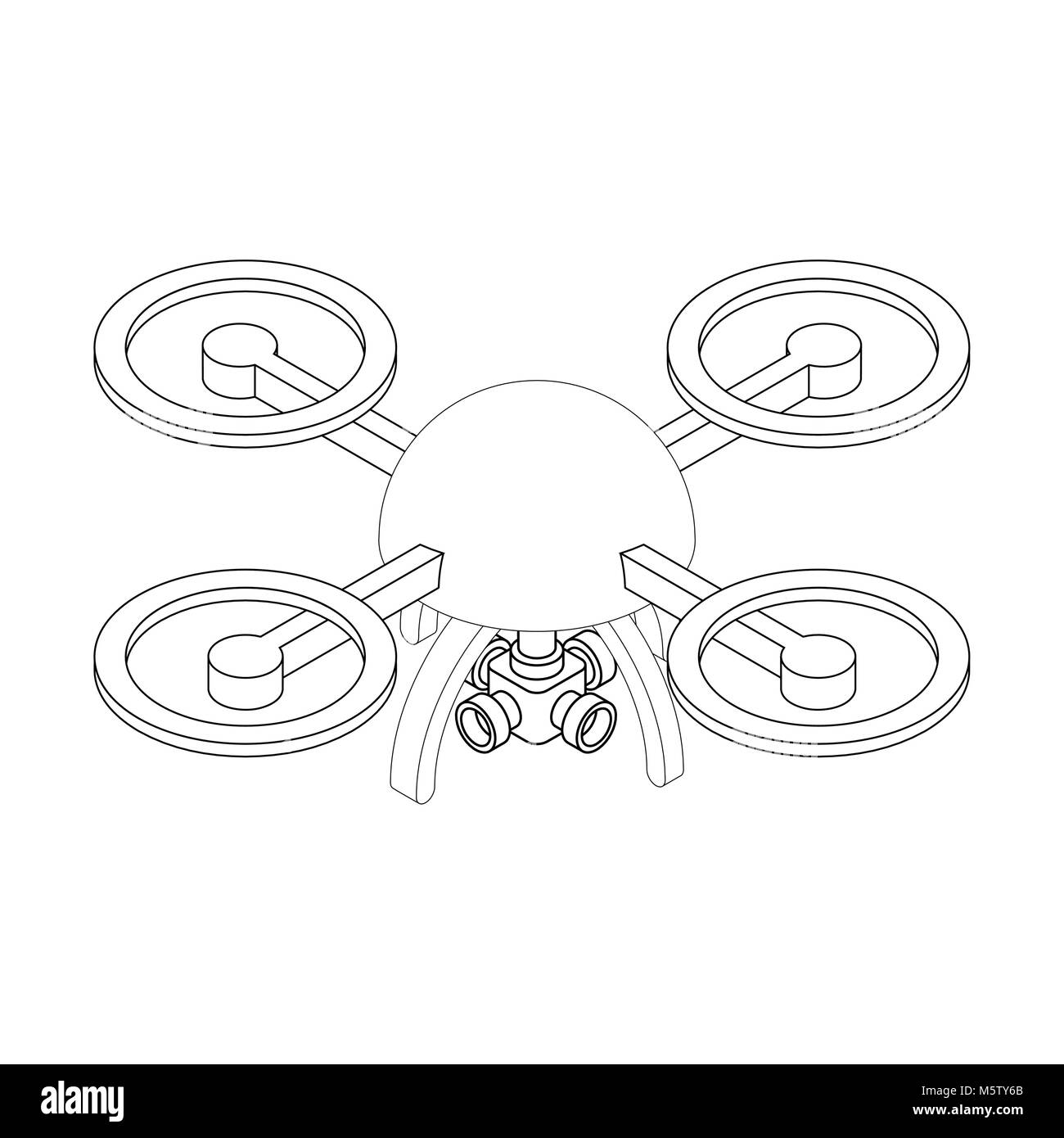Quadrocopter with camera isometry isolated. unmanned aerial vehicle - Stock Vector