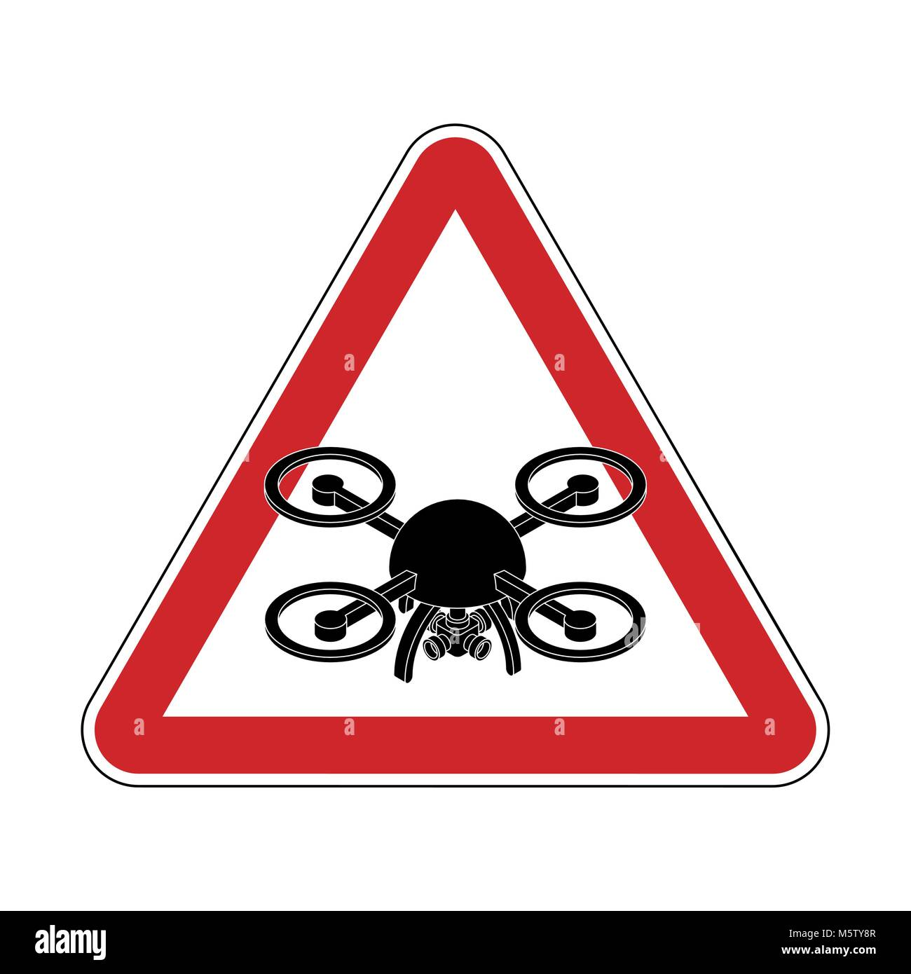 Attention quadrocopter. Danger of aerial photography. Red road sign - Stock Vector