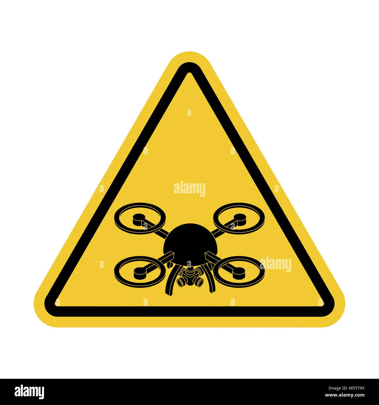 Attention quadrocopter. Danger of aerial photography. Yellow road sign - Stock Vector