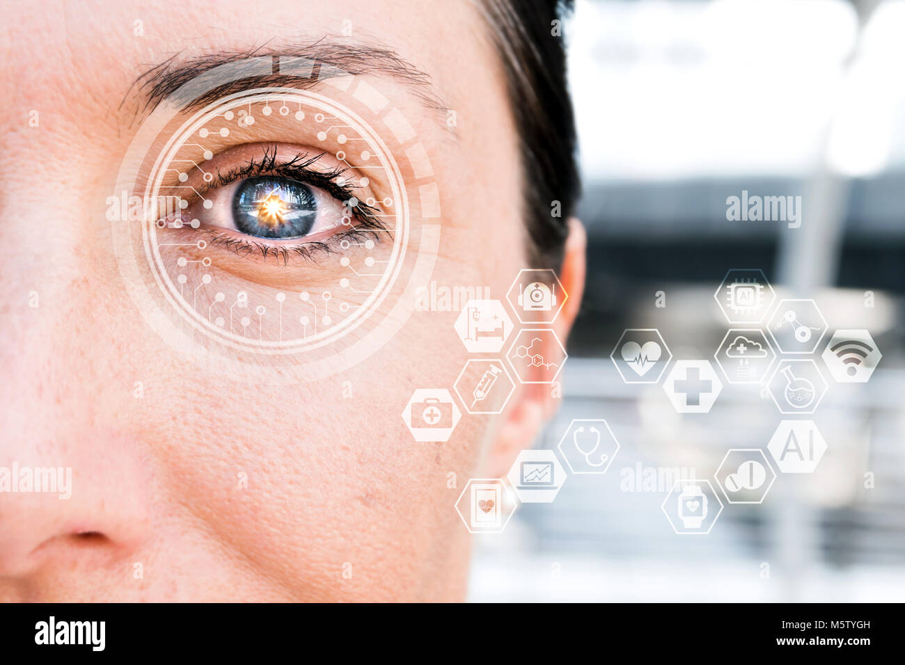 Artificial intelligence , deep learning technology trend concept. AI learns to detect diabetic eye disease. - Stock Image
