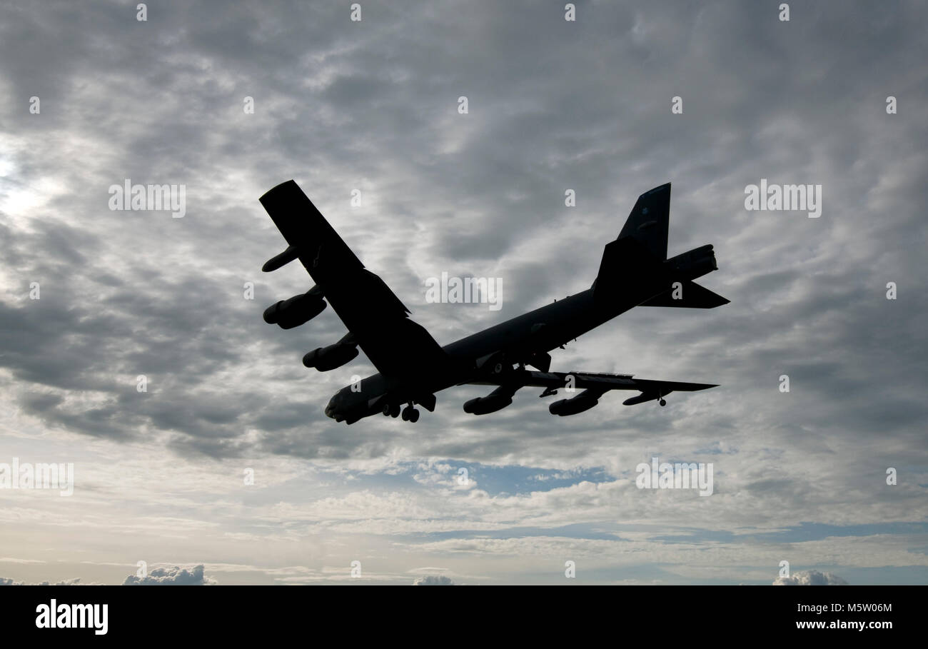 USAF  Boeing B-52H Statofortress bomber 61-0004 from the 2nd BW, 20th BS, Barksdale AFB returns from a mission to - Stock Image