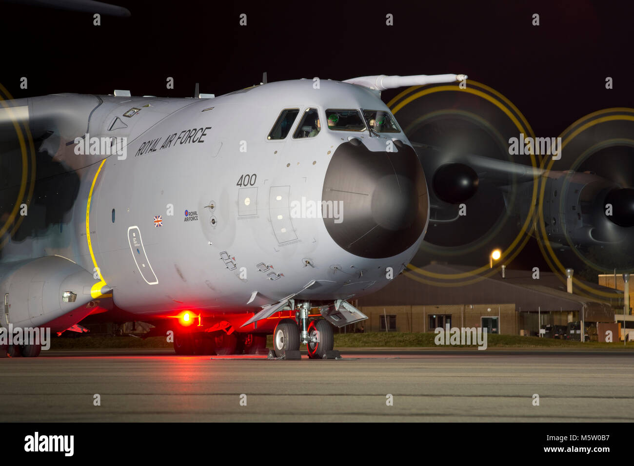 Airbus Atlas C.1, ZM400, 70 Squadron, RAF, seen and based at Brize Norton, Oxfordshire, for a night photo shoot, - Stock Image