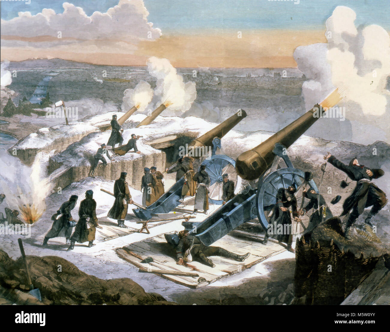 FRANCO-PRUSSIAN WAR 1870 A German battery firing on Paris. Unknown artist. - Stock Image