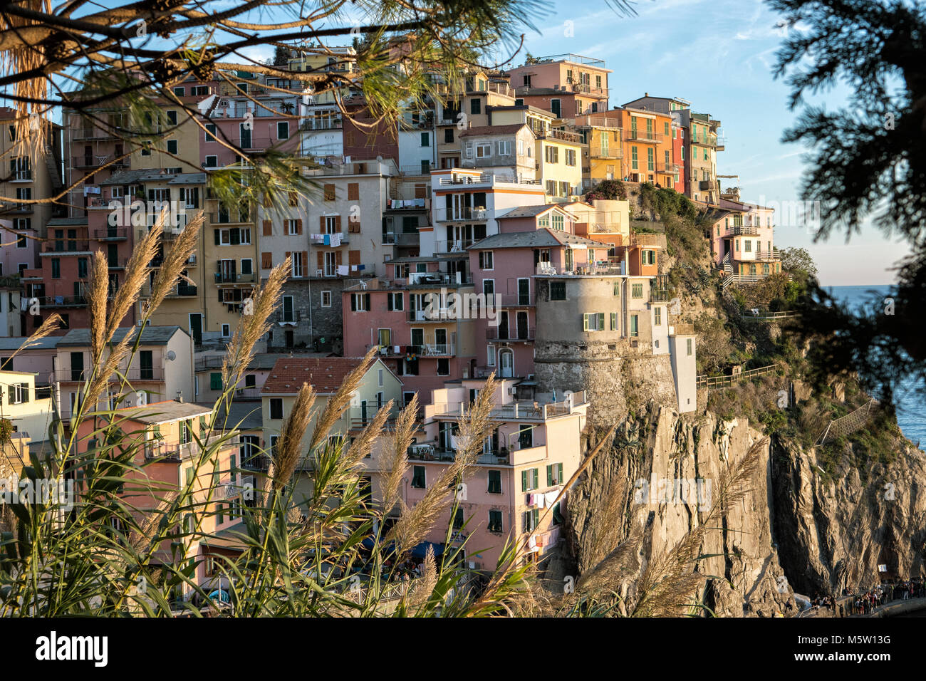 Close up on the village of Manarola in the Cinque Terre, Liguria, Italy Stock Photo
