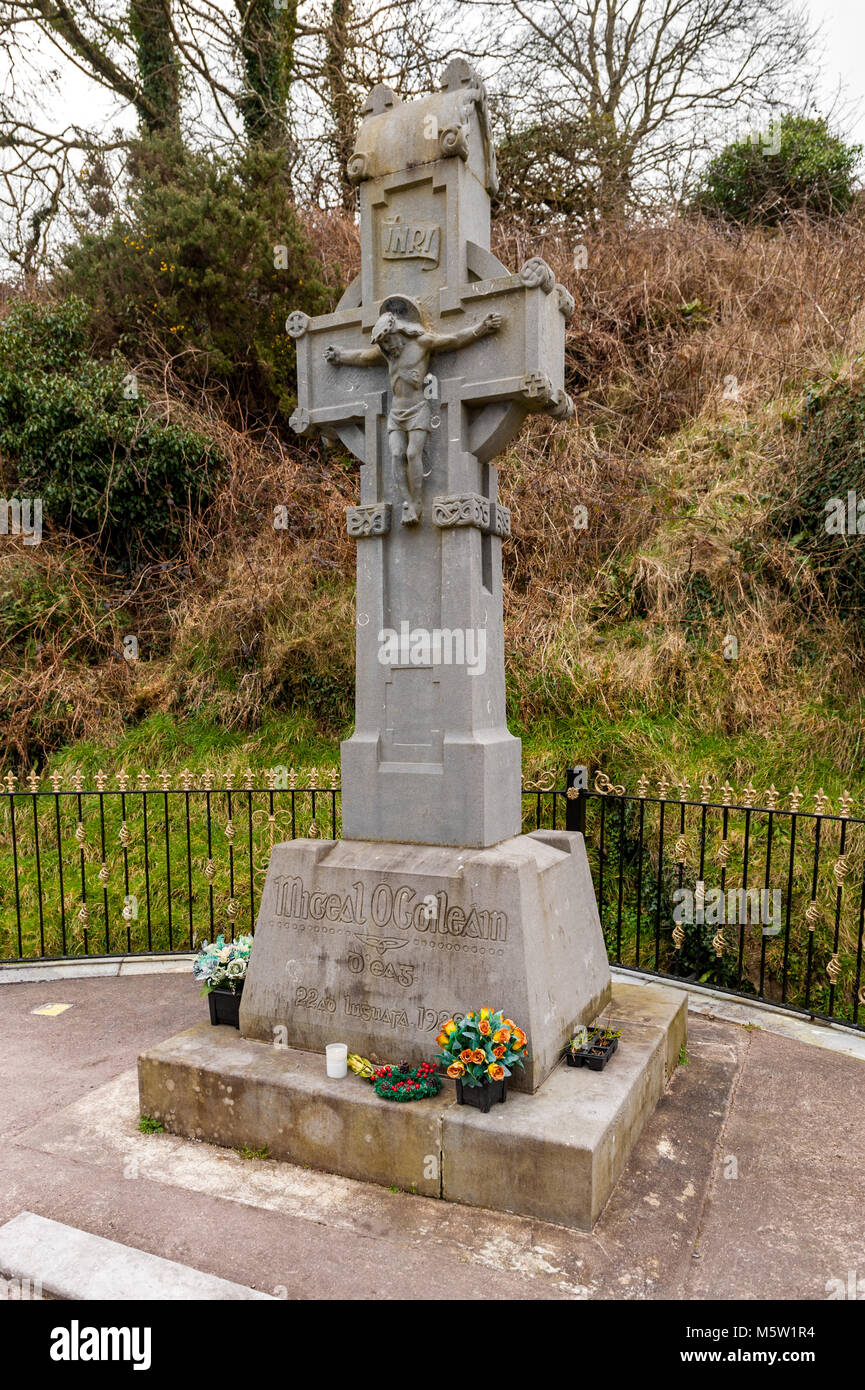 Roadside memorial at Beal na Blath, County Cork, Ireland to mark Michal Collins assassination in the 1922 ambush. - Stock Image